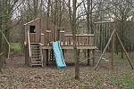 Large play frame in a oak woodland